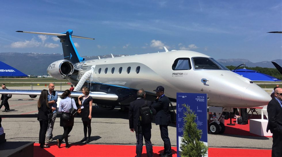 embraer praetor 600 business jet at ebace 2019