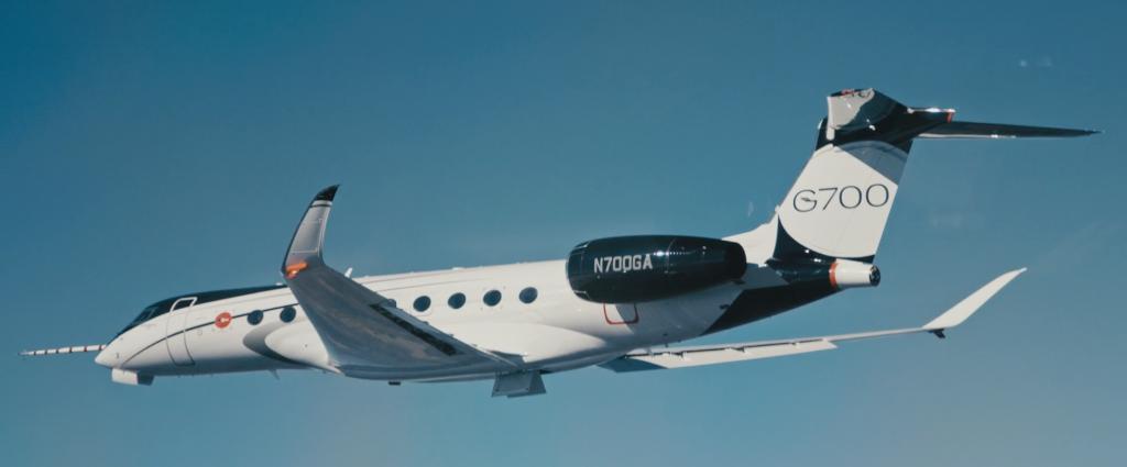 gulfstream business jet test aircraft in flight