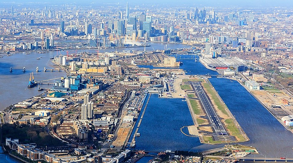 birds eye view of london city airport