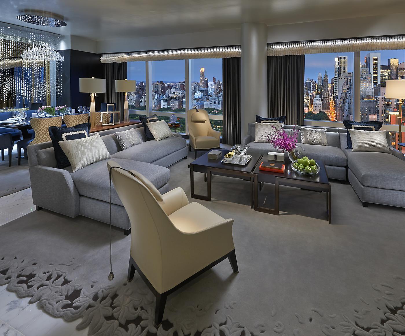 Mandarin hotel new york suite in living room