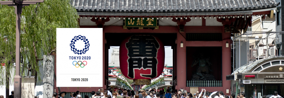 typlical street in japan with sign for the olympics japan 2020